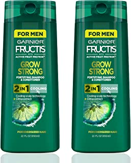 Garnier Fructis Grow Strong Cooling 2-in-1 Shampoo & Conditioner for Men, 22 Ounce Bottle