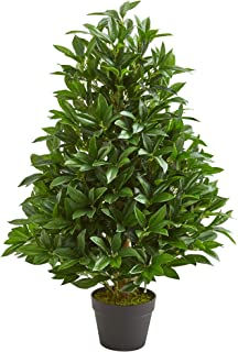 Nearly Natural 3-Ft. Bay Leaf Artificial Topiary UV Resistant (Indoor/Outdoor) Silk Trees Green