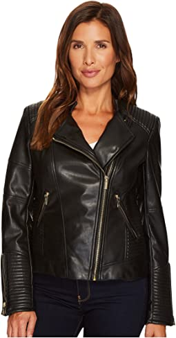 Levis Faux Leather Fashion Moto Jacket W Racer Collar