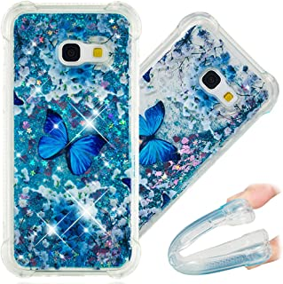 A7 2017 Case, 3D Cute Painted Glitter Liquid Sparkle Floating Luxury Bling Quicksand Shockproof Protective Bumper Silicone Case Cover for Samsung Galaxy A7 2017 A720. Liquid - Blue Butterfly