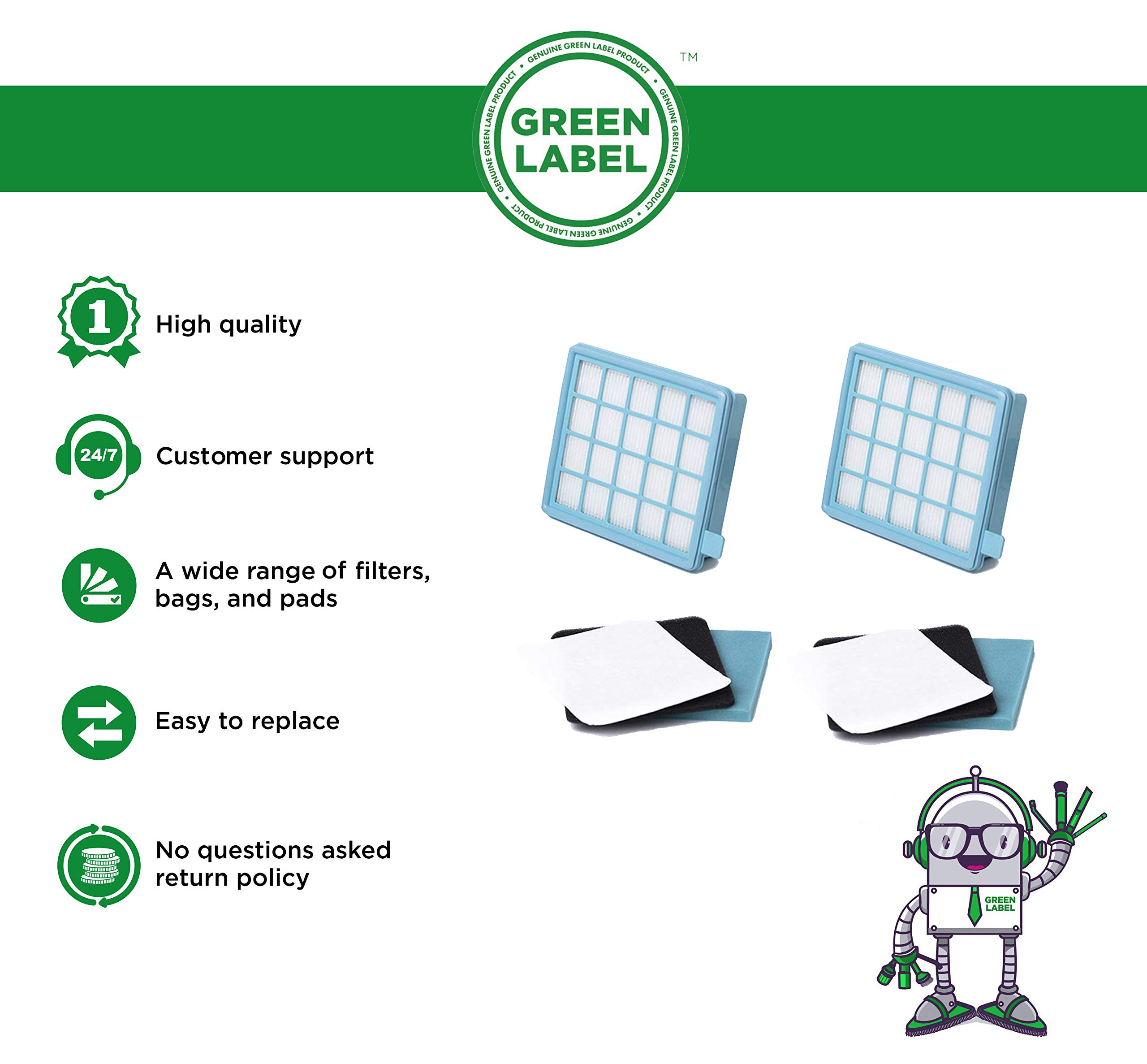 Green Label Pack de 2 Kit de Filtros para Aspiradoras Philips PowerPro Active y Compact. Reemplaza a FC8058,01: Amazon.es: Hogar
