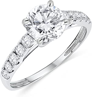 14k Authentic Gold Engagement Ring Round Solitaire AAA+ Cubic Zirconia