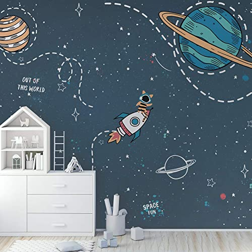 Amazon Com Murwall Kids Wallpaper For Boys Cartoon Space Wall Mural Colorful Planets And Shining Star Wall Print Boys Bedroom Kidsroom Childroom Handmade Products