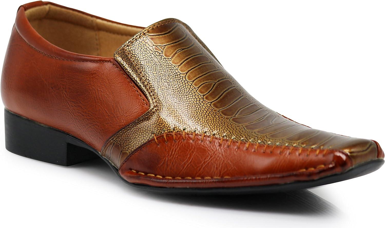 Enzo Romeo Eway8 Men Dress Loafers with Aligator Prints Slip on Tuxedo Patent Square Toe Dress shoes
