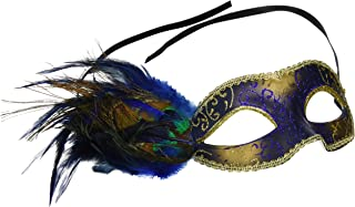 Fashionable Venetian Peacock Feather Mask - Gold and Blue Acrylic Glitter Work