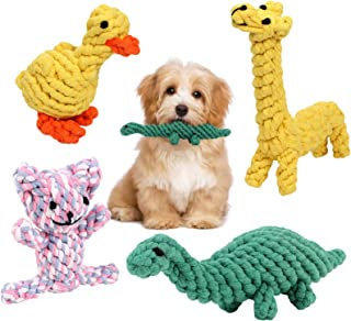 G.C 4 Stück Hundespielzeug Seil unzerstörbar, Kleine Hunde Kauspielzeug, robustes interaktives Spielsachen, Zahnbürste Wurfspielzeug für Kleine Welpen Mittelgroße Hündchen