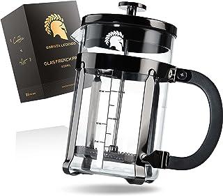 Barista Legends French Press glas med rostfritt stål kropp svart – 800 ml (4 koppar) kaffepress med 4-vägs filtersystem – ...