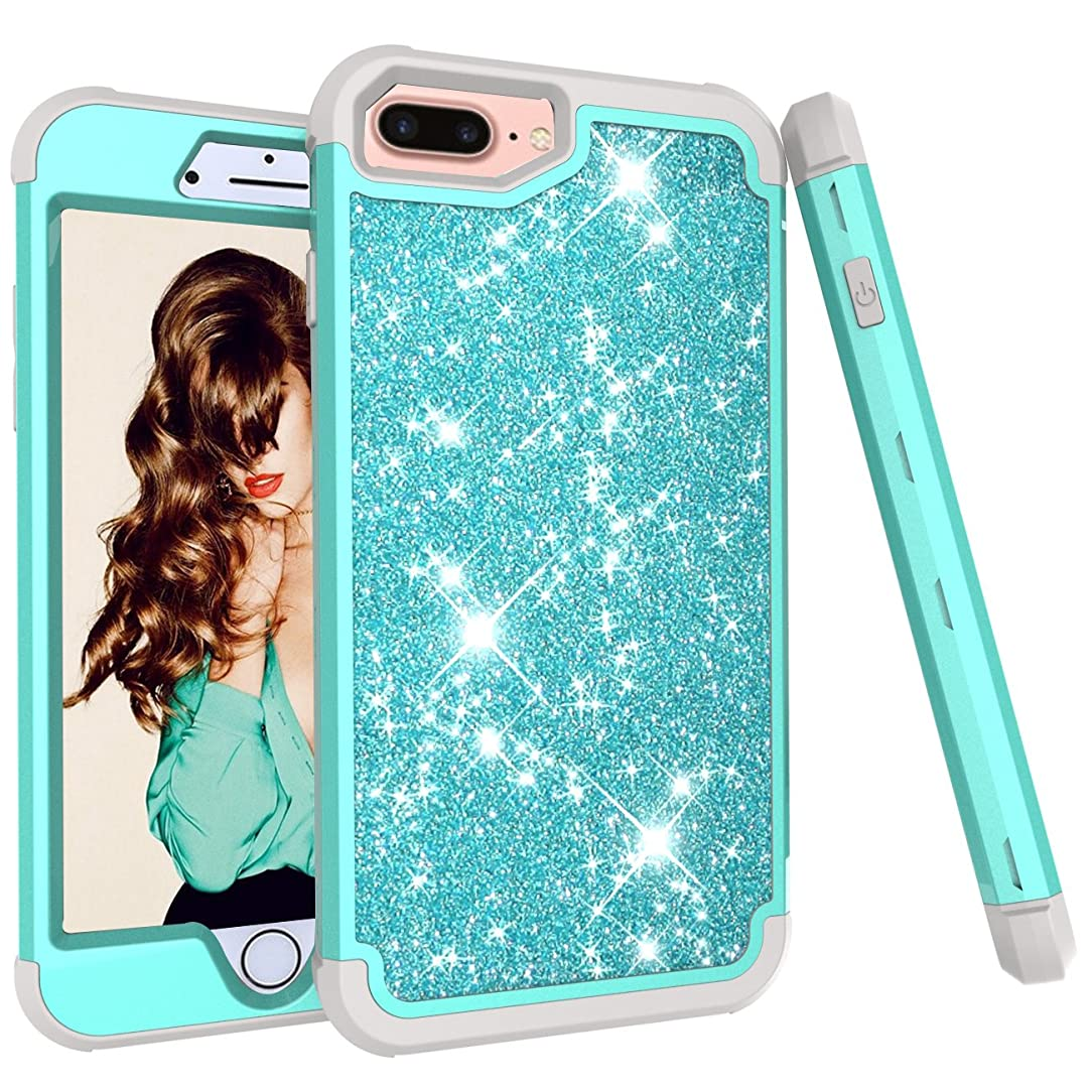 StarCity iPhone 8 Plus/iPhone 7 Plus/iPhone 6 Plus Case, Glitter Sparkly Bling Hybrid Armor Shockproof Case Full-Body Protective Case for iPhone 7 Plus/iPhone 8 Plus (Aqua)