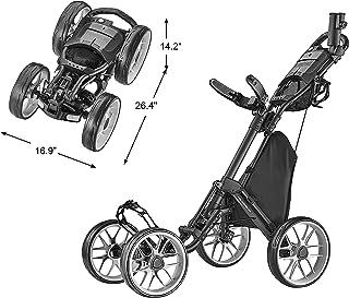CaddyTek 4 Wheel Golf Push Cart - Caddycruiser One Version 8 1-Click Folding Trolley - Lightweight, Compact Pull Caddy Car...