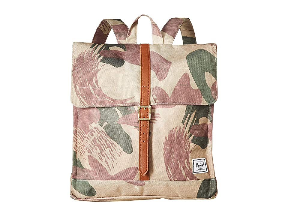 Herschel Supply Co. City Mid-Volume (Brushstroke Camo/Tan Synthetic Leather) Backpack Bags