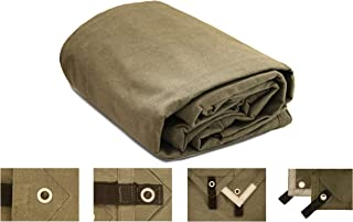 18oz. Heavy Duty Canvas Tarp, Waterproof, Mold, UV Resistant w/Rustproof Grommets, Reinforced Edges, Reflective Tape -Industrial & Commercial use (Cut Size: 20' x 24', Finished Size: 19'6