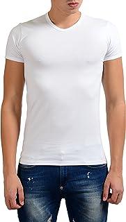 Collection Men's White Stretch V-Neck Short Sleeve T-Shirt US L IT XL;