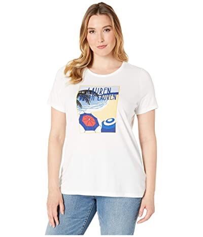 LAUREN Ralph Lauren Plus Size Logo Cotton-Blend Tee (White) Women