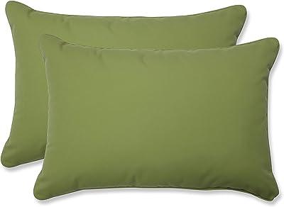 "Pillow Perfect Outdoor/Indoor Fortress Colefax Pesto Oversized Lumbar Pillows, 24.5"" x 16.5"", Green, 2 Pack"