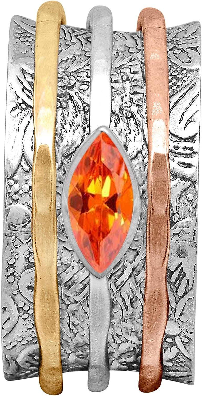 Shine Jewel 5 popular Spinner Ring with Orange Surprise price 925 Tone Sterling Triple CZ