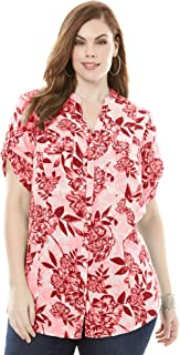 Women's Plus Size Seersucker Shirt with Tab Sleeves