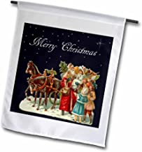 3dRose fl_170111_1 Santa Claus Delivering Presents in a Horse Drawn Sleigh Garden Flag, 12 by 18-Inch