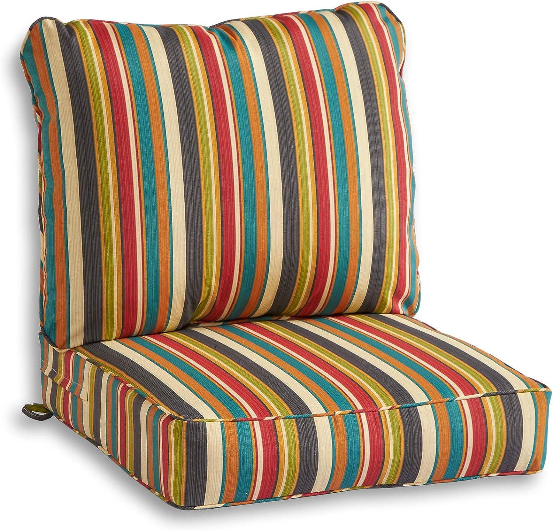 South Pine Porch AM7820-SUNSET Sunset Stripe 2-Piece Outdoor Deep Seat Cushion Set