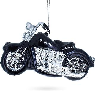 BestPysanky Black & White Motorcycle Glass Christmas Ornament