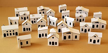 Pack of 24 DIY Small Putz Style Glitter Houses UNASSEMBLED Cardboard House City