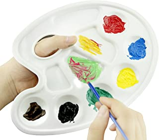 Tray Palette- 10 Pieces Traditionally Shaped Paint Tray Palettes with Thumb Hole - for Different Arts and Crafts Projects-...