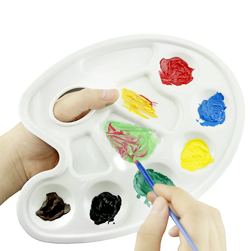 Paint Tray Palettes with Ten-well Thumb Hole - For Different Arts and Crafts Projects - With Kare & Kind? Retail Packaging (5 Pieces, White)