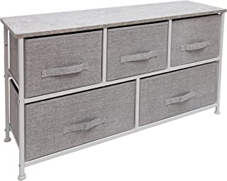 East Loft Extra Wide Storage Cube Dresser   Organizer for Closet, Nursery, Bathroom, Laundry or Bedroom   5 Fabric Drawers, Solid Wood Top, Durable Steel Frame   Light Grey