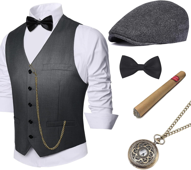 1920s Men's Costumes: Gatsby, Gangster, Peaky Blinders, Mobster, Mafia BABEYOND 1920s Mens Gatsby Gangster Vest Costume Accessories Set Fedora Hat  AT vintagedancer.com