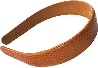 Wardani, 1 wide pebbled Leather headband handmade USA (Cognac)