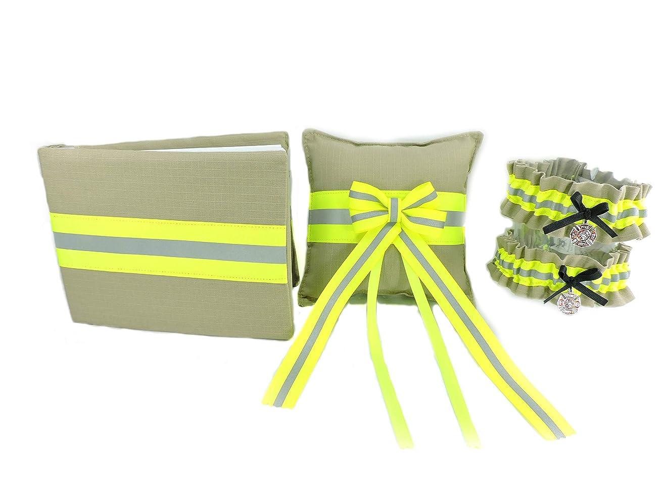 Firefighter Wedding Set, Two Garters, Guestbook, Ring Bearer Pillow, Tan Bunker Gear Look