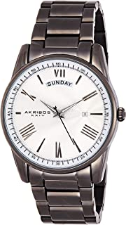 Akribos XXIV Designer Men's Watch - Graduated Roman Numerals with Date and Day Windows on Stylish Stainless Steel Bracelet Wristwatch - AK1039