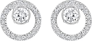 SWAROVSKI Women's Creativity Circle Pierced Earrings, White, Rhodium plated