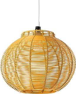 Luminaire Korba jaune, suspension rotin, 60 W, jaune , ø 30 x H 24 cm