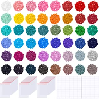 PP OPOUNT 57600 PCS 48 Colors Diamond Painting Replacement Round Diamonds with 60 Pieces Self-Seal Bags, 3 Sheets 120 Tags...