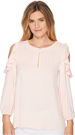 Ruffled Jersey Cold-Shoulder Blouse