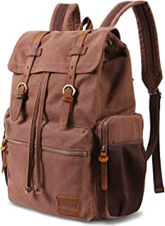 Lifewit 17 inch Canvas Backpack Laptop Unisex Vintage Leather Casual Rucksack School College Bags Travel Daypack Coffee