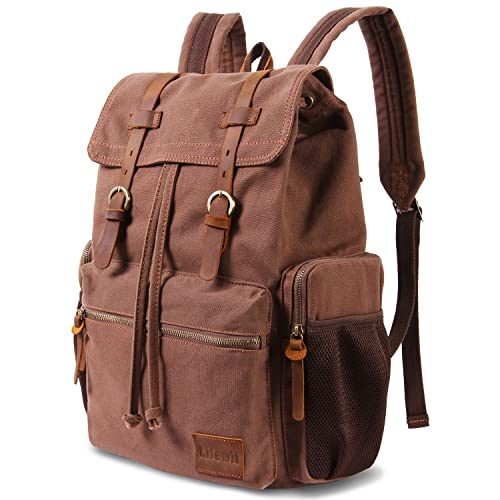 a9070e5812 Lifewit 17 Inch Canvas Laptop Backpack Unisex Vintage Leather Casual School  College Bag Hiking
