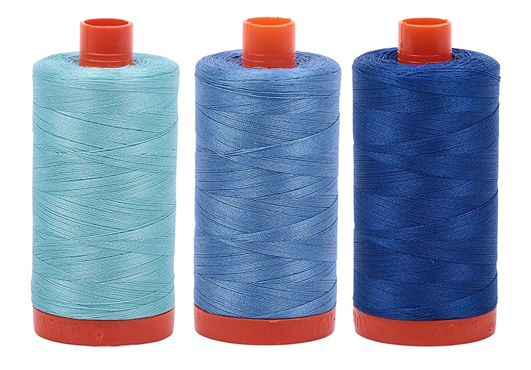 AURIFIL Cotton Mako 50wt 1300m 3-Pack: Lt Turquoise + Wedgewood + Med Blue
