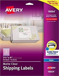 Avery Matte Frosted Clear Address Labels for Inkjet Printers, 3-1/3