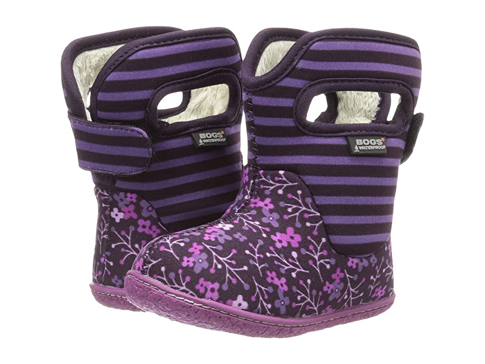 Bogs Kids Baby Classic Flower Stripe (Toddler) (Plum) Girls Shoes
