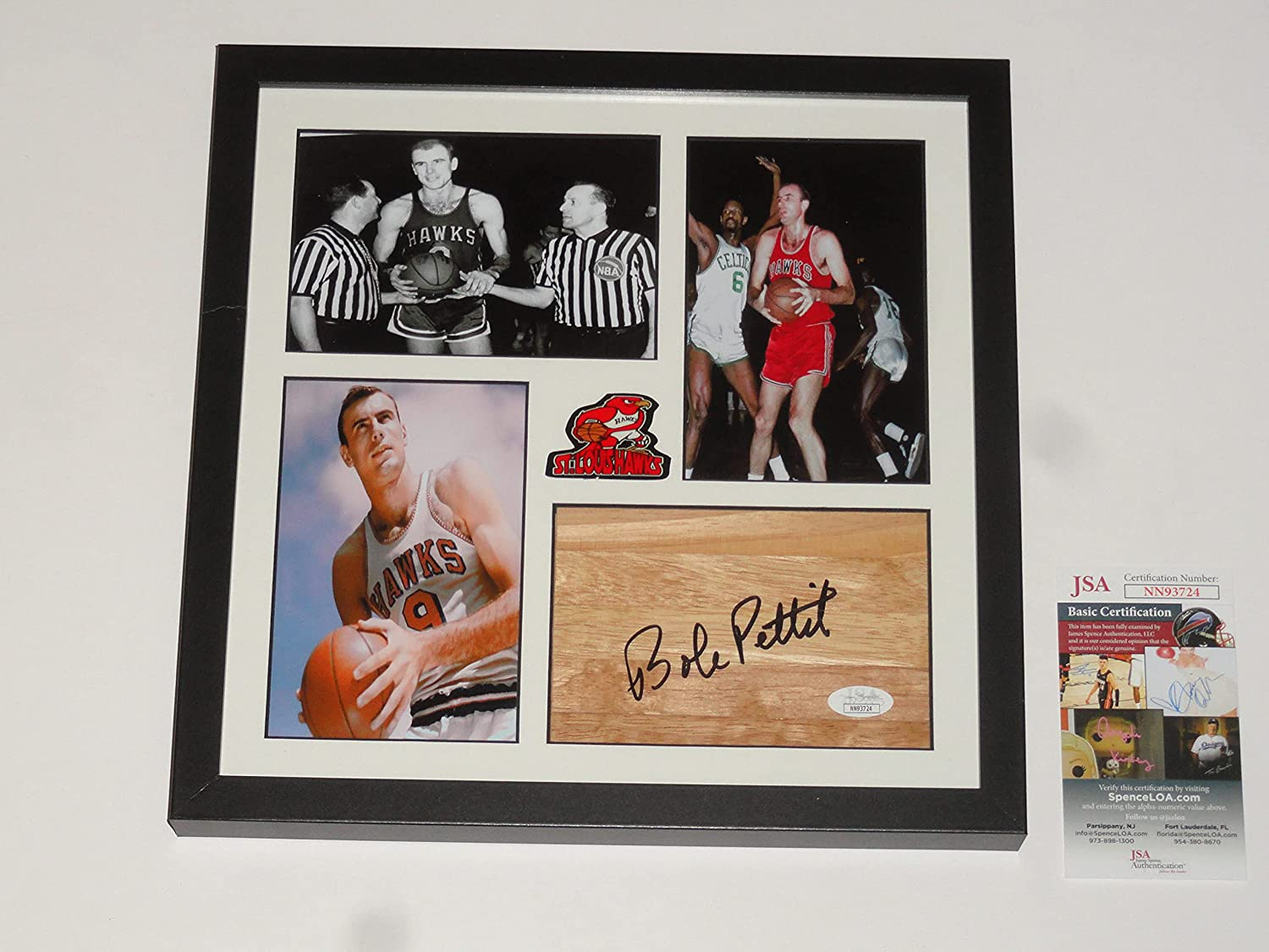 BOB PETTIT SIGNED Lowest price challenge 12X12 Safety and trust FRAMED FLOORBOARD J HALL FAME COLLAGE OF