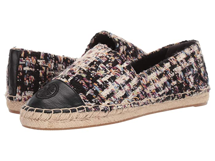 Tory Burch  Color Block Flat Espadrille (Striped Tweed/Perfect Black) Womens Shoes