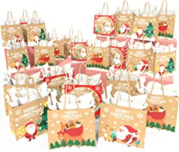 KIDPAR 48pcsChristmas Kraft Gift Bags Set with24 Assorted Christmas PrintsBags,24Tissue Papers and 72Pcs Christmas Gift Tags, Goody Bags, Xmas Gift Bags, School Classrooms and Party Favors