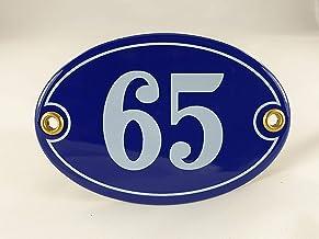 Emaille huisnummerbordje nr. 65, ovaal, blauw-wit Nr. 65 Blau-Weiß