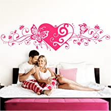 Grandora Muursticker bloemenrank hart zelfklevend I pink 150 x 38 cm I slaapkamer liefde liefde vlinders wandtatoo muursti...