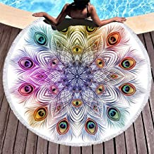 """Yeacun Large & Thick Mandala Round Beach Towel Pool Towel with Fringed 59"""" Ultra Soft Super Water Absorbent Circle Blanket..."""