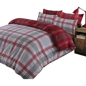 Dreamscene Boston - Set copripiumino con federa in 100% flanella di cotone spazzolato, reversibile, motivo tartan, colore: rosso e grigio, misura Super King