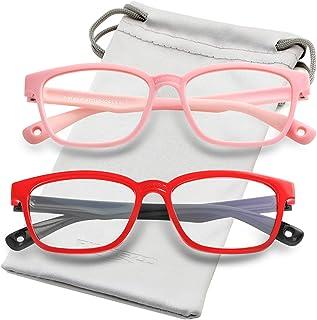نظارات حجب الضوء الأزرق للأطفال من السيليكون إطار نظارات مربعة مرنة مع حبل نظارات، للأطفال من سن 3-10 (الوردي والأحمر والأ...
