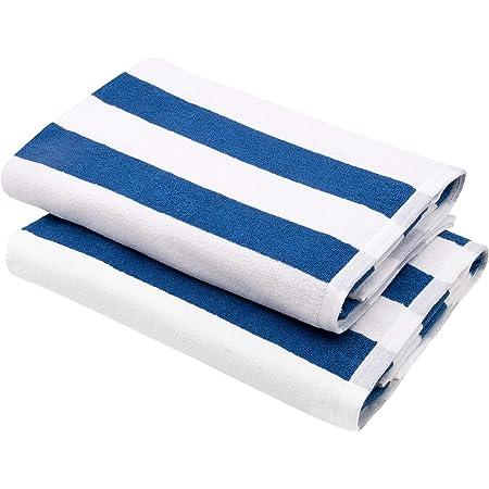 ZOLLNER 2er-Set Saunatuch, 70x180 cm, blau-weiß gestreift