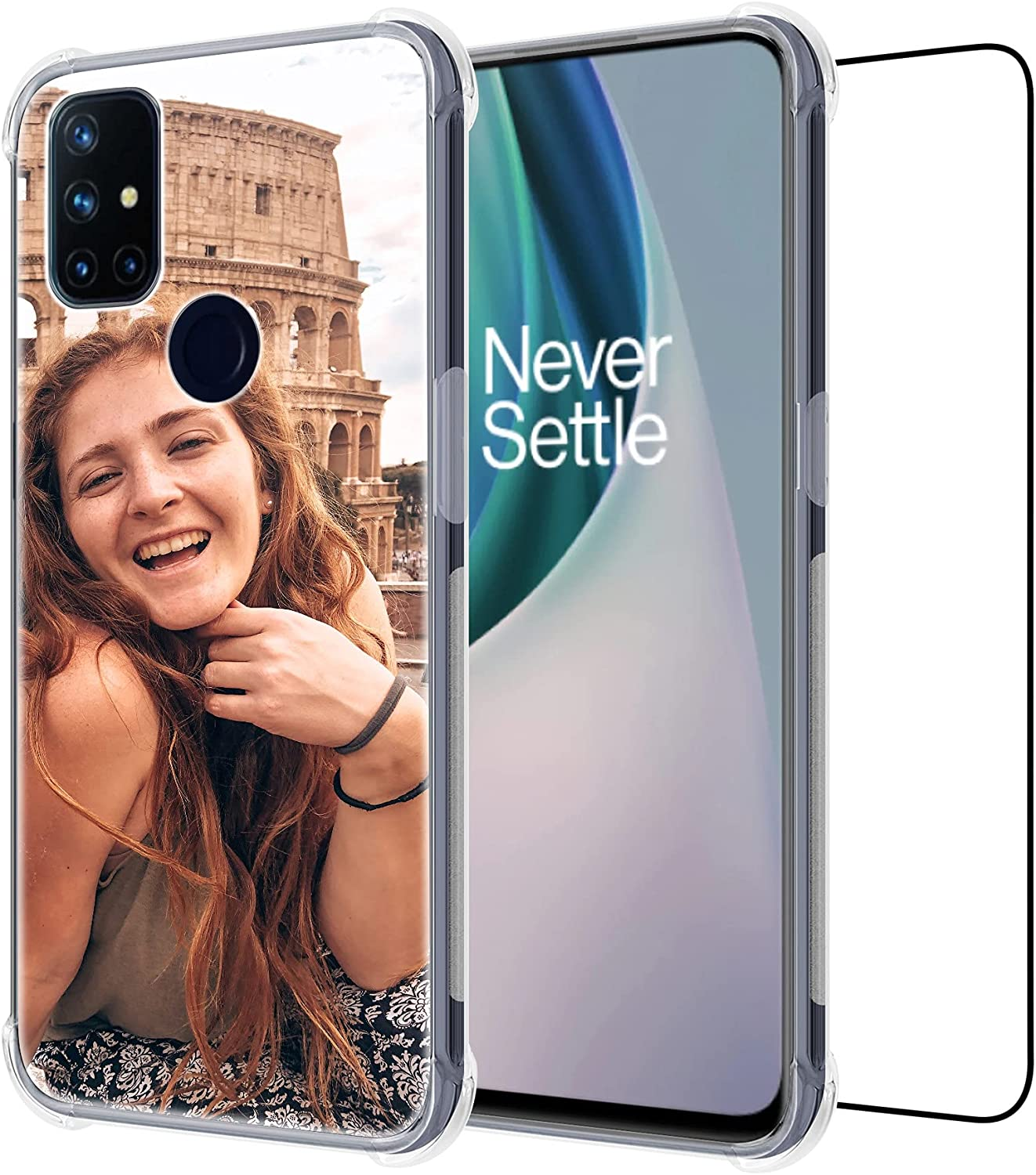 Customized Compatible with OnePlus Nord N10 5G,Clear Shockproof Bundle Phone Cover with 1Pack Screen Protector for Ladies,for Girls,for Women,for Mother,for Men(Shockproof)